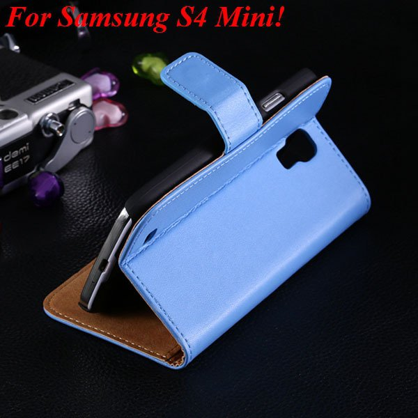 Genuine Korea Style Ultra Thin Leather Case For Samsung Galaxy S4  1850888618-2-blue for S4 Mini