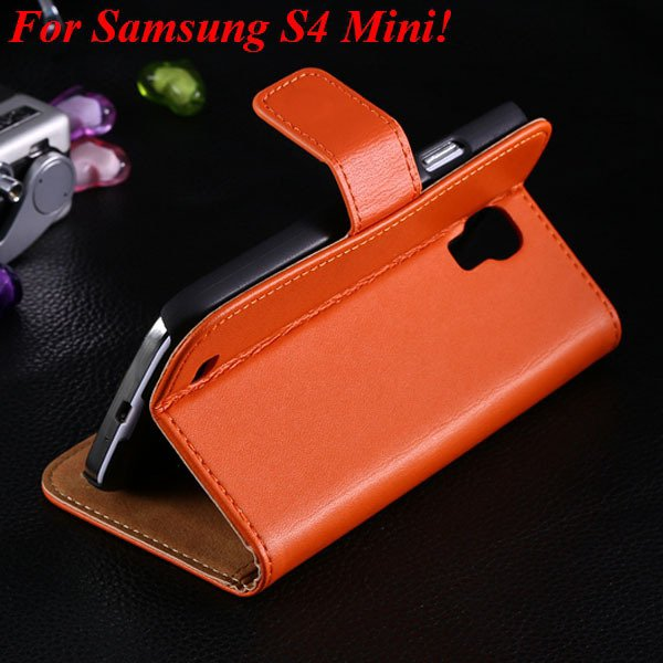 Genuine Korea Style Ultra Thin Leather Case For Samsung Galaxy S4  1850888618-5-orange for S4 Mini