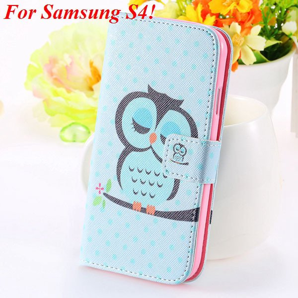 S5 S4 Case Flip Pu Leather Cover For Samsung Galaxy S5 I9600 S4 I9 1925680254-3-s4 sky blue owl