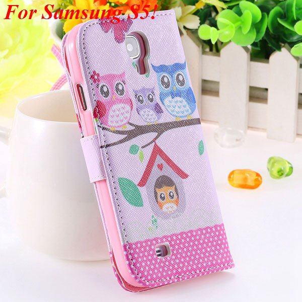 S5 S4 Case Flip Pu Leather Cover For Samsung Galaxy S5 I9600 S4 I9 1925680254-17-s5 owl on tree