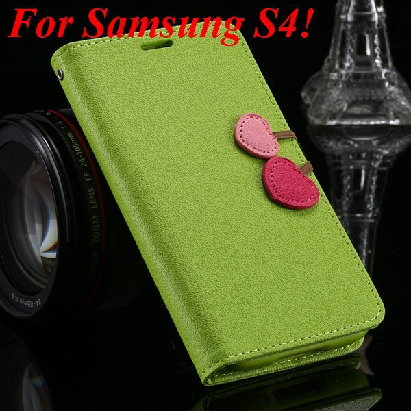 For Samsung S5 S4 S3 Luxury Pu Leather Case Full Protect Cover For 1879055763-2-grass green for S4