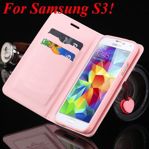 For Samsung S5 S4 S3 Luxury Pu Leather Case Full Protect Cover For 1879055763-11-pink for S3