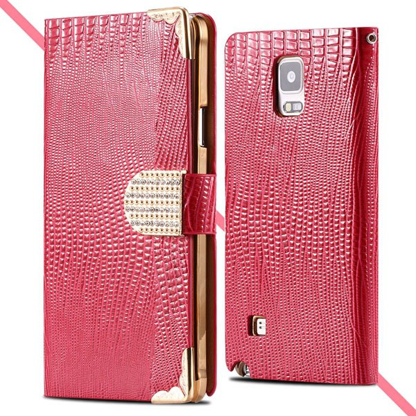 Luxury Bling Wallet Pu Leather Case For Samsung Galaxy Note 4 N910 32245985795-4-hot pink