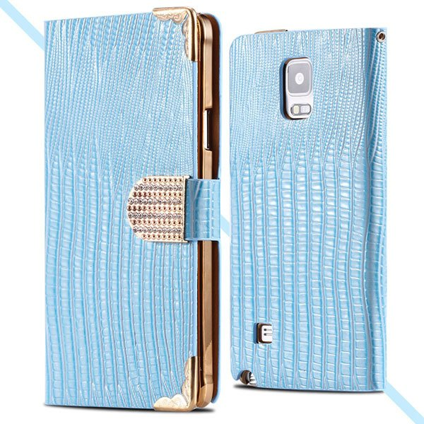 Luxury Bling Wallet Pu Leather Case For Samsung Galaxy Note 4 N910 32245985795-5-blue