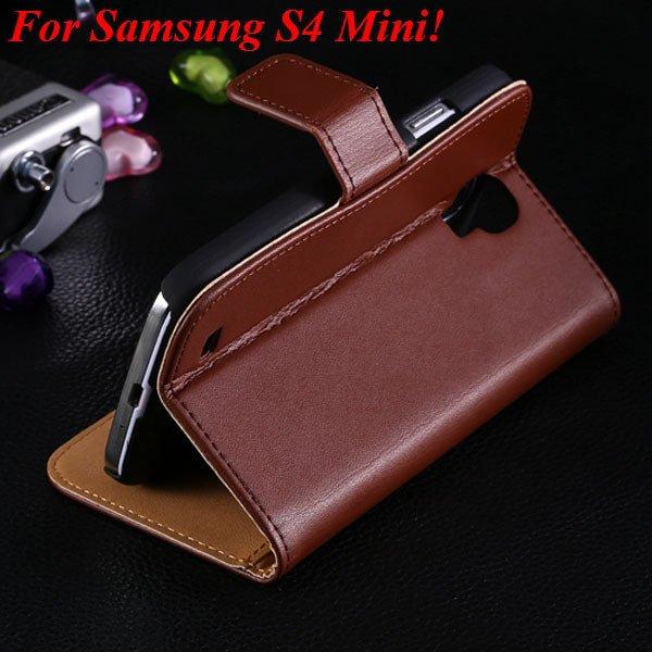 S4 Mini Genuine Leather Case For Samsung Galaxy S4 Mini I9190 Flip 1850946514-3-brown