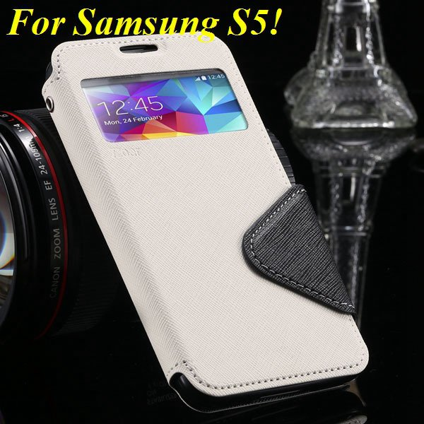 View Case For Samsung Galaxy S4 I9500 S5 I9600 Flip Display Screen 1960771752-3-white for S5