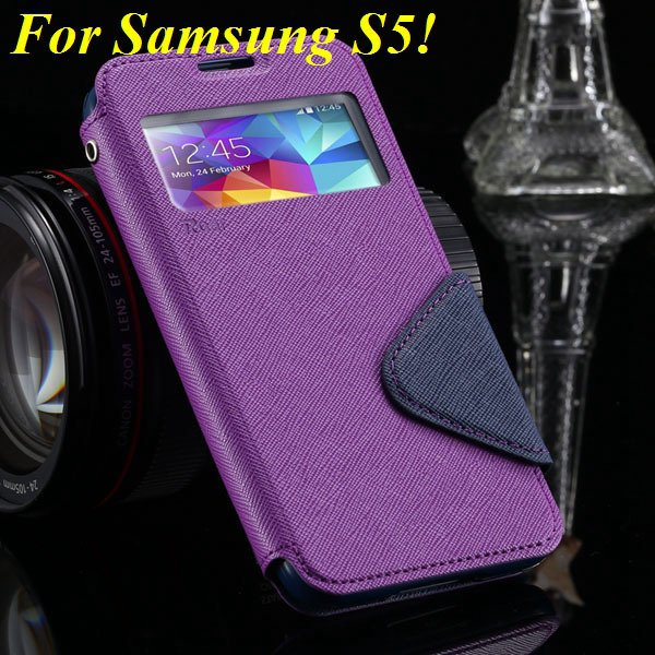 View Case For Samsung Galaxy S4 I9500 S5 I9600 Flip Display Screen 1960771752-5-purple for S5