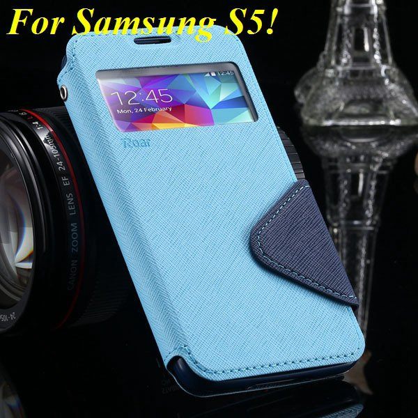 View Case For Samsung Galaxy S4 I9500 S5 I9600 Flip Display Screen 1960771752-6-sky blue for S5