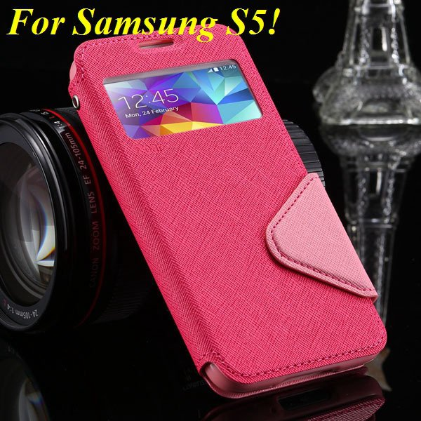 View Case For Samsung Galaxy S4 I9500 S5 I9600 Flip Display Screen 1960771752-8-hot pink for S5