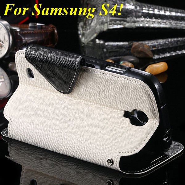 View Case For Samsung Galaxy S4 I9500 S5 I9600 Flip Display Screen 1960771752-11-white for S4