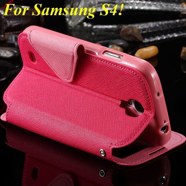 View Case For Samsung Galaxy S4 I9500 S5 I9600 Flip Display Screen 1960771752-12-hot pink for S4