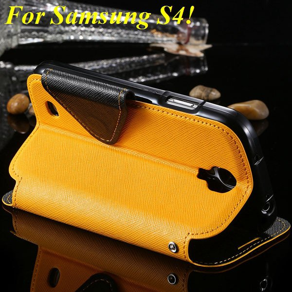 View Case For Samsung Galaxy S4 I9500 S5 I9600 Flip Display Screen 1960771752-13-yellow for S4