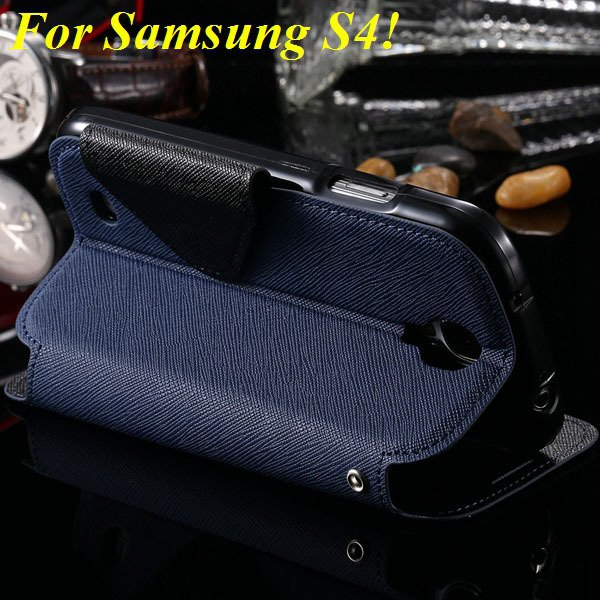 View Case For Samsung Galaxy S4 I9500 S5 I9600 Flip Display Screen 1960771752-14-deep blue for S4