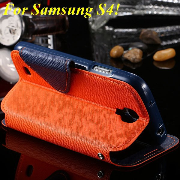 View Case For Samsung Galaxy S4 I9500 S5 I9600 Flip Display Screen 1960771752-15-orange for S4