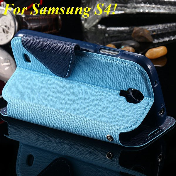 View Case For Samsung Galaxy S4 I9500 S5 I9600 Flip Display Screen 1960771752-16-sky blue for S4