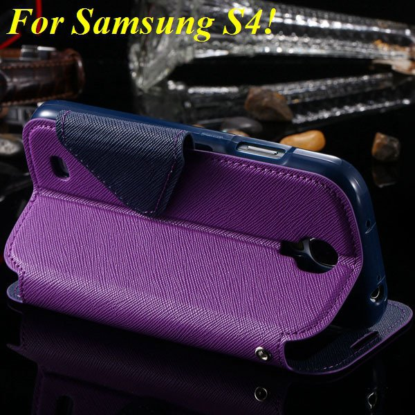 View Case For Samsung Galaxy S4 I9500 S5 I9600 Flip Display Screen 1960771752-17-purple for S4