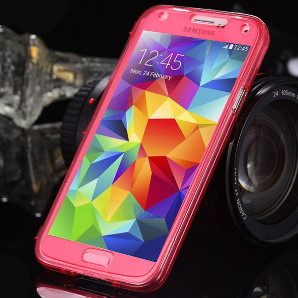 S5 Clear Case Flip Tpu Cover For Samsung Galaxy S5 Sv I9600 Deluxe 1869499191-5-red
