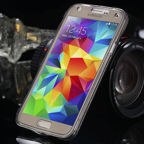 S5 Clear Case Flip Tpu Cover For Samsung Galaxy S5 Sv I9600 Deluxe 1869499191-6-black