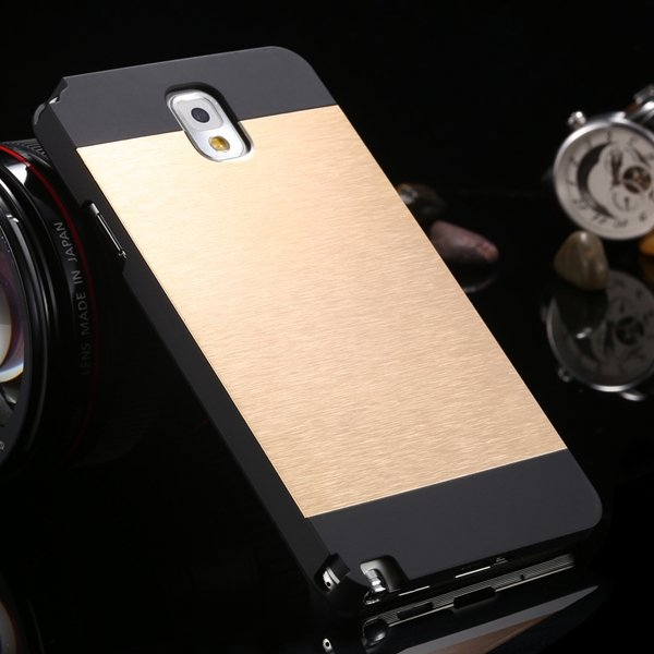 Note 3 Aluminum Case Metal Brush Hard Cover For Samsung Galaxy Not 1893304496-4-black and gold