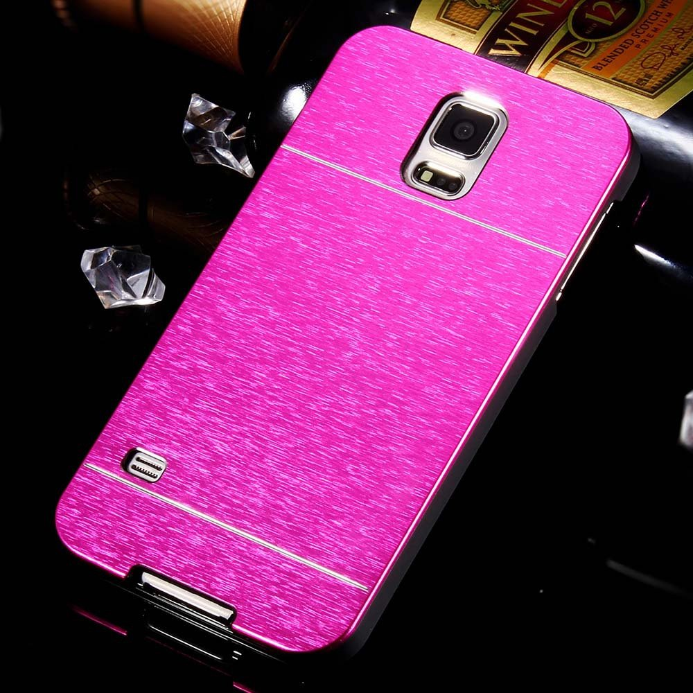 S5 Aluminum Deluxe Gold Metal Brush Back Case For Samsung Galaxy S 32237608035-6-hot pink