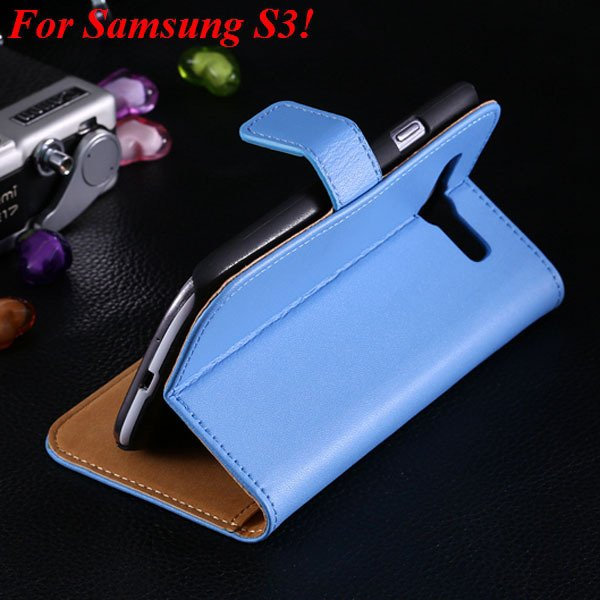 S3 S4 Genuine Leather Stand Case For Samsung Galaxy S3 Siii I9300  1335833839-4-blue for S3