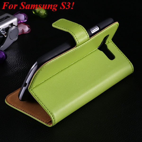 S3 S4 Genuine Leather Stand Case For Samsung Galaxy S3 Siii I9300  1335833839-5-green for S3