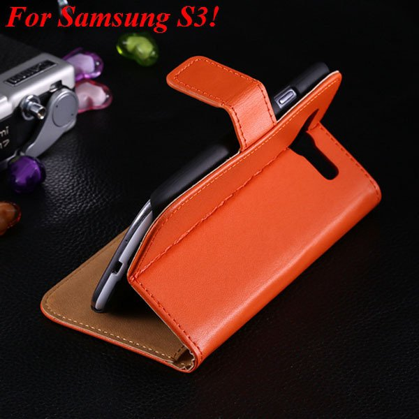 S3 S4 Genuine Leather Stand Case For Samsung Galaxy S3 Siii I9300  1335833839-7-orange for S3