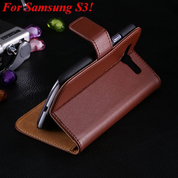 S3 S4 Genuine Leather Stand Case For Samsung Galaxy S3 Siii I9300  1335833839-8-brown for S3