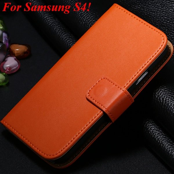 S3 S4 Genuine Leather Stand Case For Samsung Galaxy S3 Siii I9300  1335833839-16-orange for S4