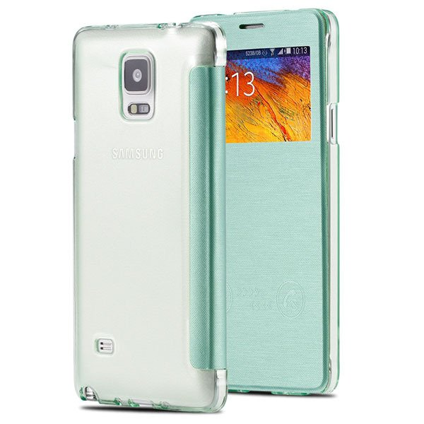 For Note 4 Free Answer Smart Case Pu Leather Window View Cover For 32236274626-7-green