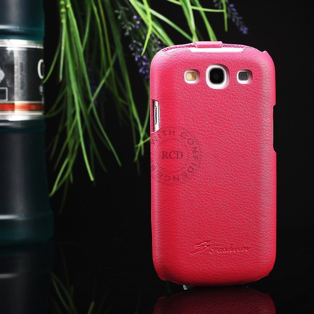 Hot 100% Cowhide Leather Cover For Samsung Galaxy S3 I9300 Genuine 1064135466-3-hot pink