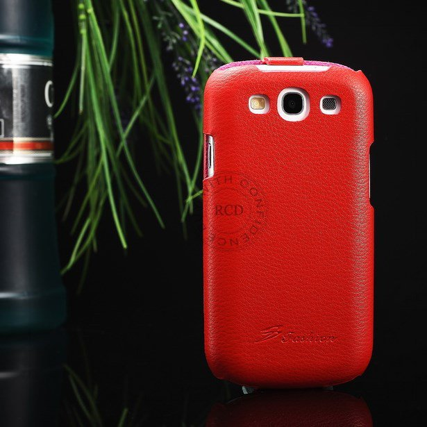Hot 100% Cowhide Leather Cover For Samsung Galaxy S3 I9300 Genuine 1064135466-4-Red
