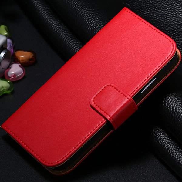 S4 Genuine Leather Case Flip Wallet Cover For Samsung Galaxy S4 Si 1772230456-3-red
