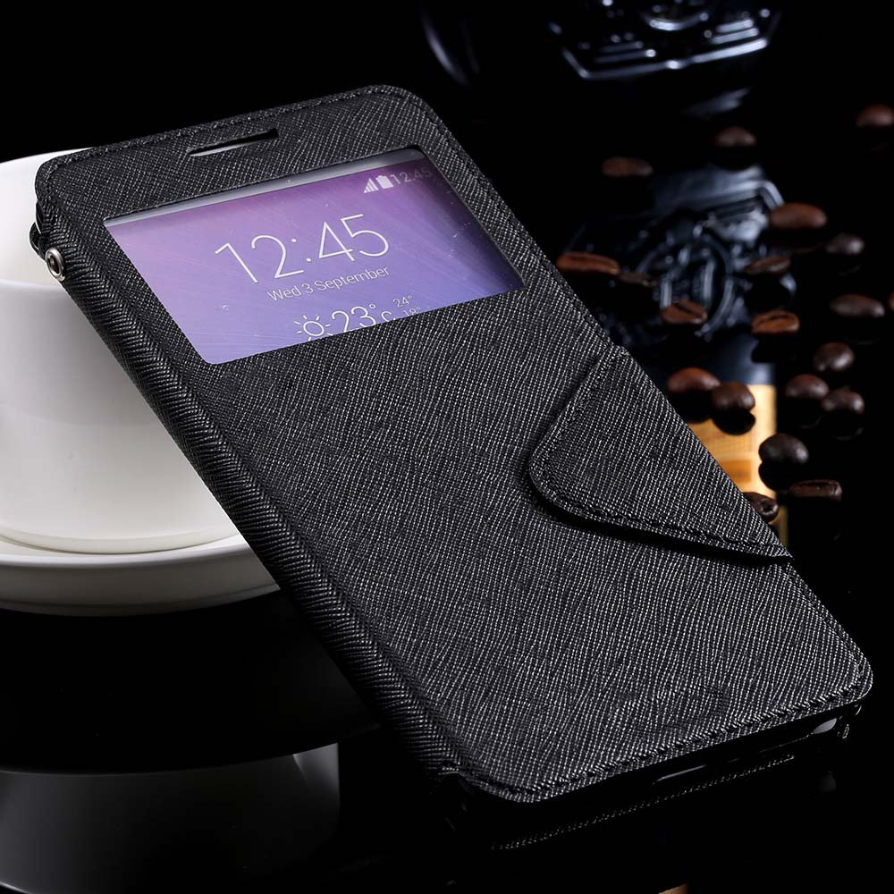 For Note 4 Window Case View Display Flip Cover For Samsung Galaxy  32261101628-1-black