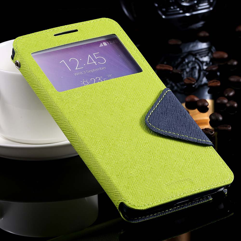 For Note 4 Window Case View Display Flip Cover For Samsung Galaxy  32261101628-3-green