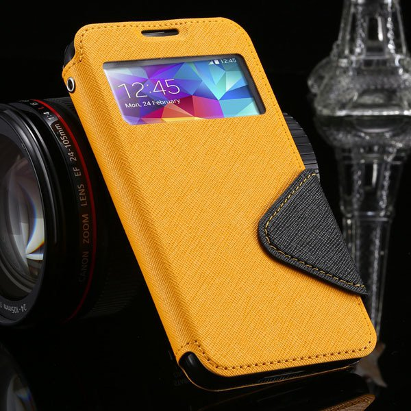 S5 Full Case For Samsung Galaxy S5 Sv I9600 Flip View Screen Leath 1877345880-2-yellow