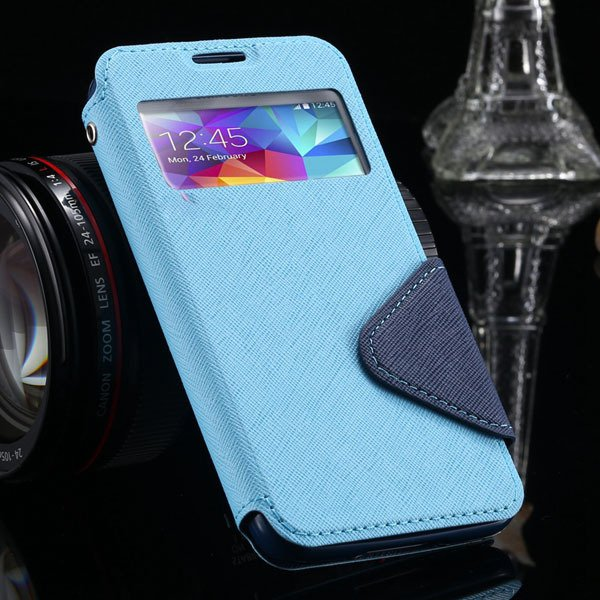 S5 Full Case For Samsung Galaxy S5 Sv I9600 Flip View Screen Leath 1877345880-6-sky blue