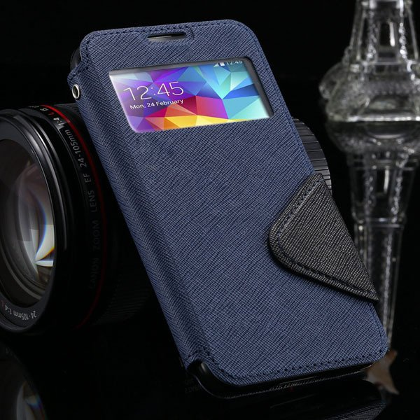 S5 Full Case For Samsung Galaxy S5 Sv I9600 Flip View Screen Leath 1877345880-7-deep blue