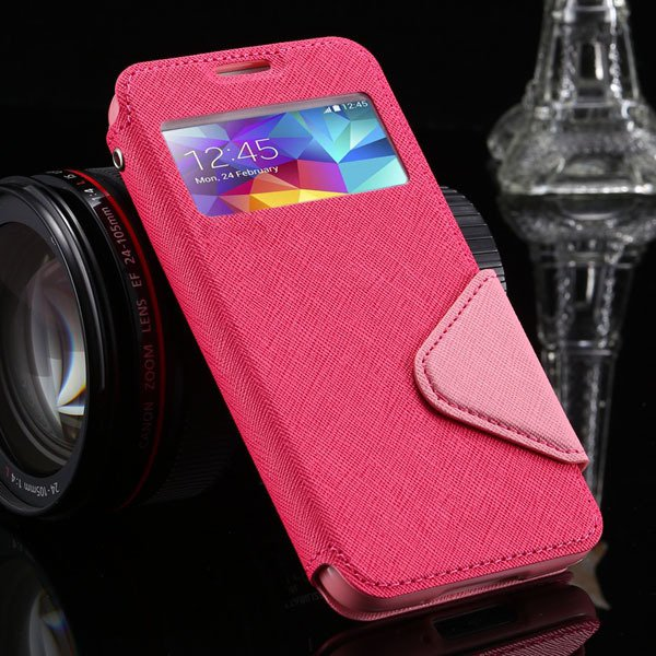 S5 Full Case For Samsung Galaxy S5 Sv I9600 Flip View Screen Leath 1877345880-8-hot pink