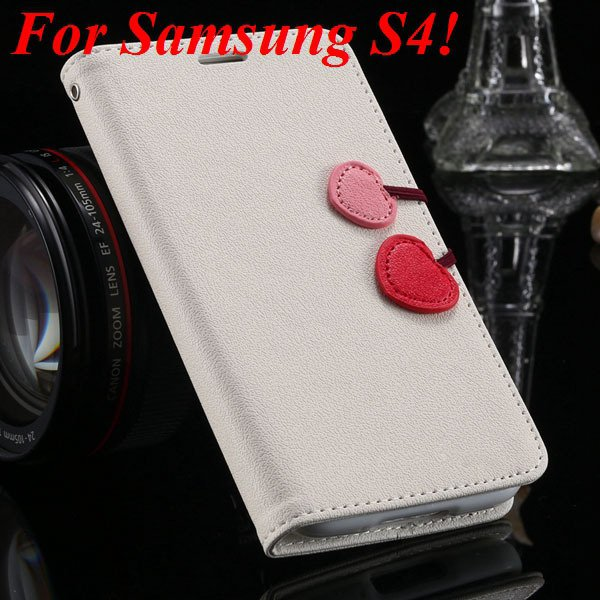 S5 S4 Cute Wallet Book Case Flip With Heart Shape Magnetic Buckle  1878960233-5-white for S4