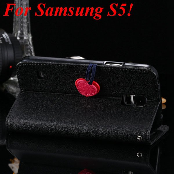 S5 S4 Cute Wallet Book Case Flip With Heart Shape Magnetic Buckle  1878960233-7-black for S5