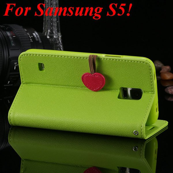 S5 S4 Cute Wallet Book Case Flip With Heart Shape Magnetic Buckle  1878960233-10-green for S5