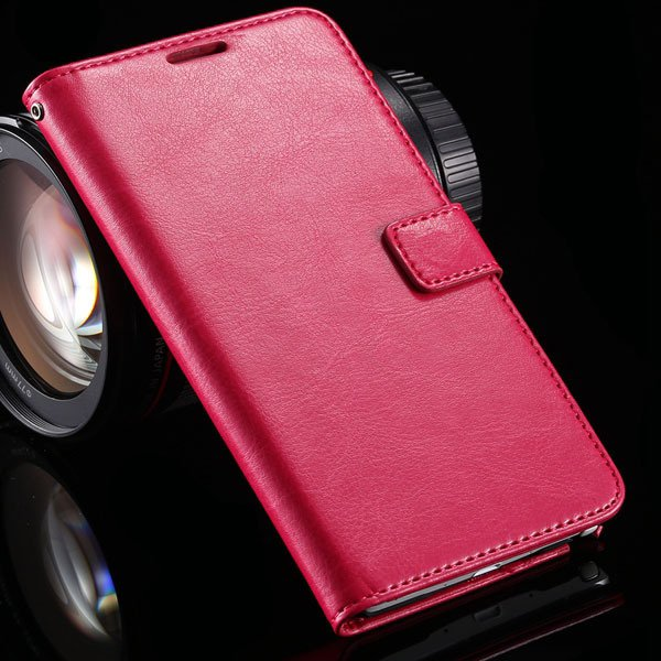 For Note 4 Pu Leather Case Full Wallet Stand Cover For Samsung Gal 32218516680-5-hot pink