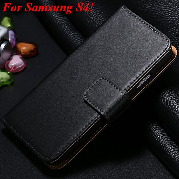 S4 S5 Flip Genuine Leather Case For Samsung Galaxy S5 I9600 For Ga 1820394140-1-black for S4