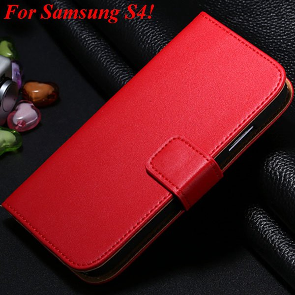 S4 S5 Flip Genuine Leather Case For Samsung Galaxy S5 I9600 For Ga 1820394140-3-red for S4