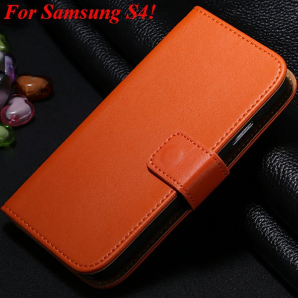 S4 S5 Flip Genuine Leather Case For Samsung Galaxy S5 I9600 For Ga 1820394140-8-orange for S4
