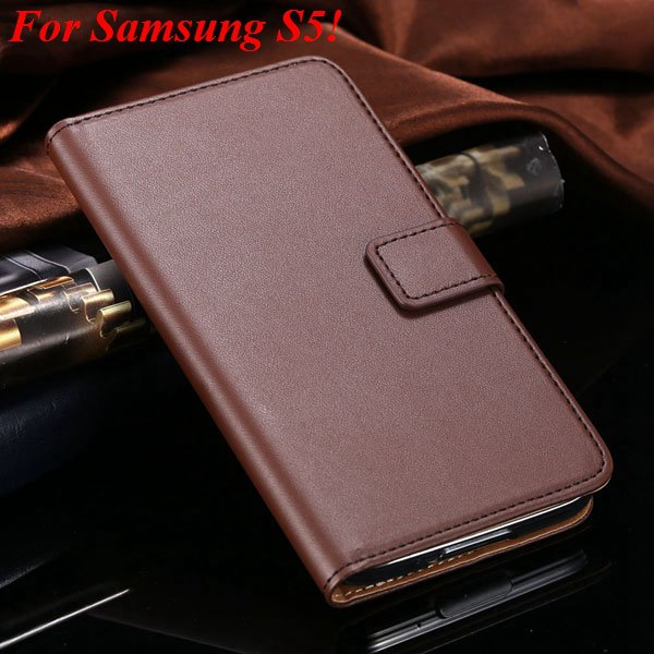 S4 S5 Flip Genuine Leather Case For Samsung Galaxy S5 I9600 For Ga 1820394140-12-brown for S5