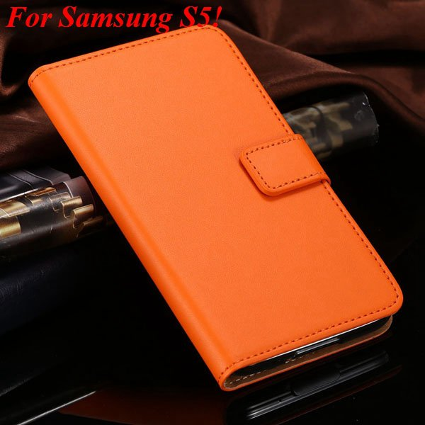 S4 S5 Flip Genuine Leather Case For Samsung Galaxy S5 I9600 For Ga 1820394140-14-orange for S5