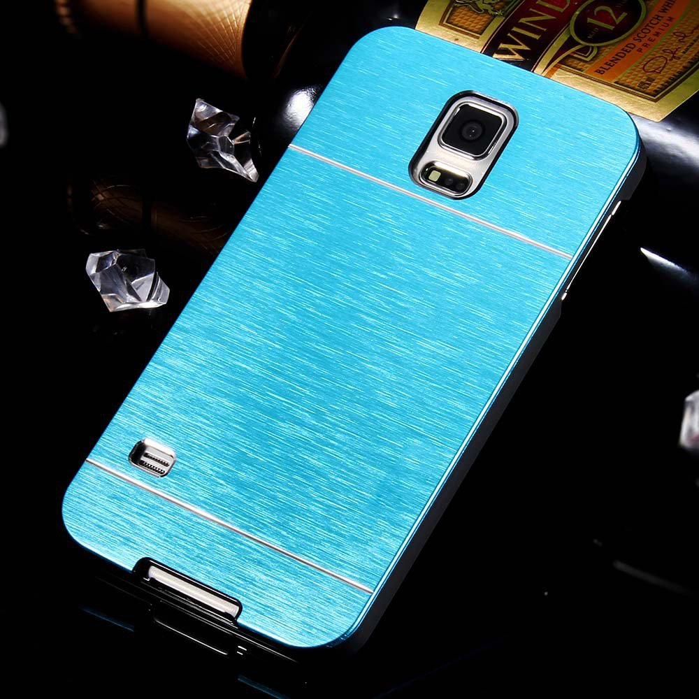 S5 Luxury Aluminum Case Gold Metal Brush Cover For Samsung Galaxy  32237477532-7-blue