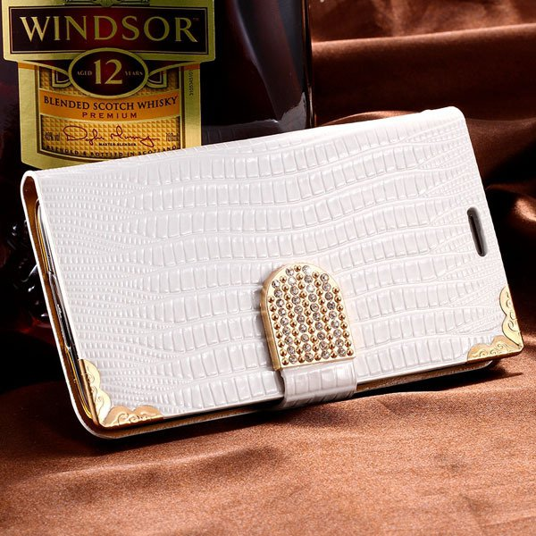 Luxury Bling Diamond Wallet Cover For Samsung Galaxy S5 I9600 Leat 32245544433-2-white